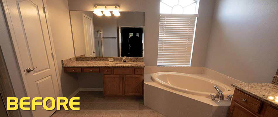 Bauer family bathroom in Wesley Chapel, FL before their remodel.
