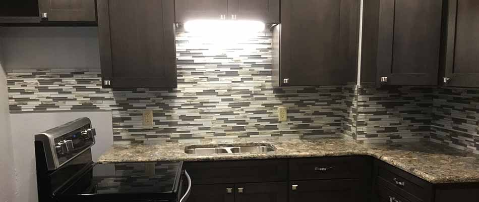 Kitchen backsplash installed by True Builders for a homeowner in Plant City.