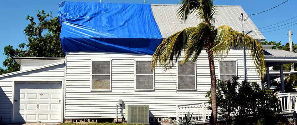 This roof in Plant City, FL sustained storm damage.
