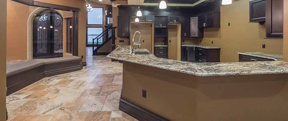 Stone kitchen floor and remodeling at a home in Plant City, FL.
