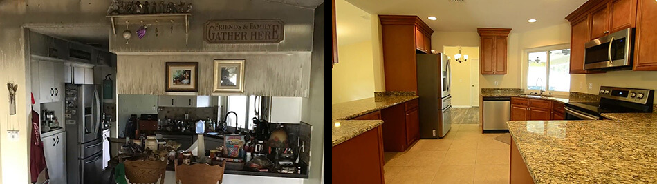Kitchen Fire Damage Remodel Before & After