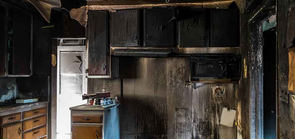 A fire damaged kitchen in Lakeland can benefit from fire restoration services.