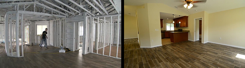 During and after photos of home fire damage repair in Lakeland, FL