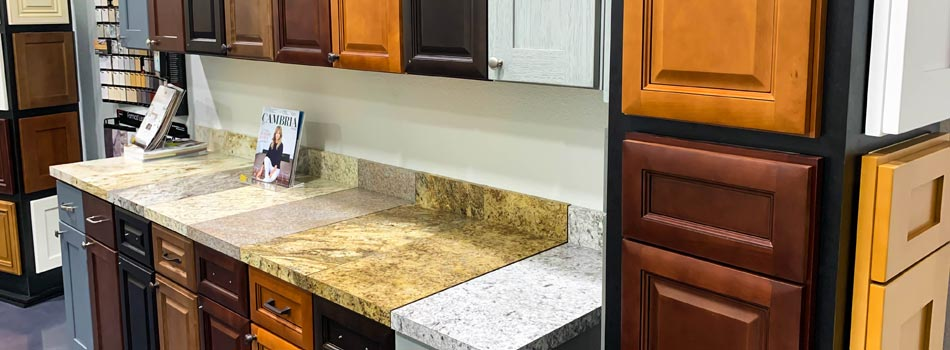 The many choices of high quality cabinets and counter tops at our showroom in Plant City, FL.