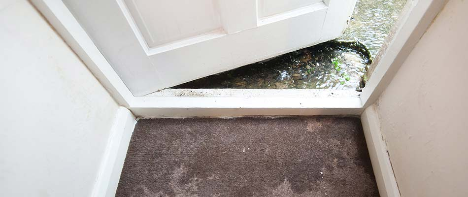 Water damage inside a home's doorway near Lakeland, FL.