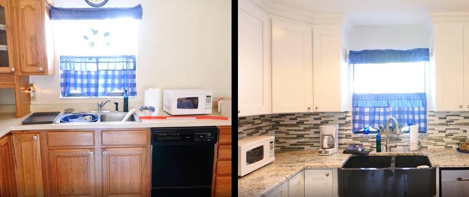 Before and after of a Kitchen remodel that True Builders has done for homeowners in Dover, FL.