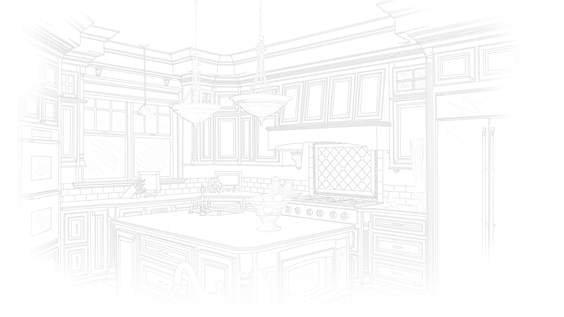Home kitchen line art background.