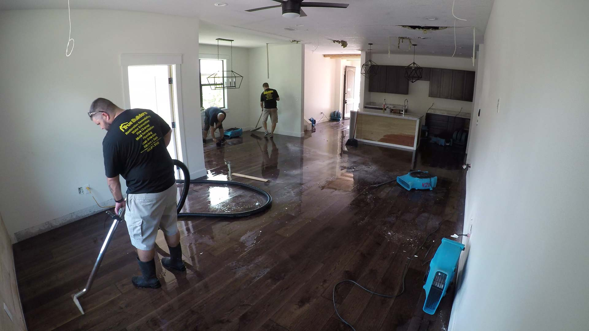 Drying and extracting water from a home in Lakeland, FL.
